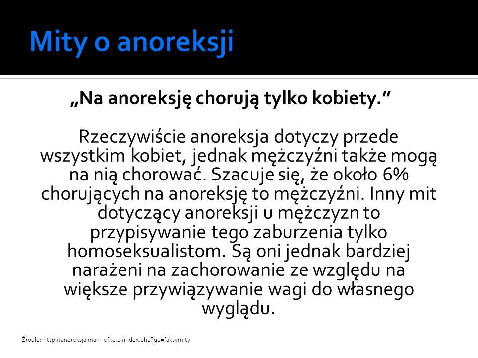 """""""Na anoreksję chorują tylko kobiety."""