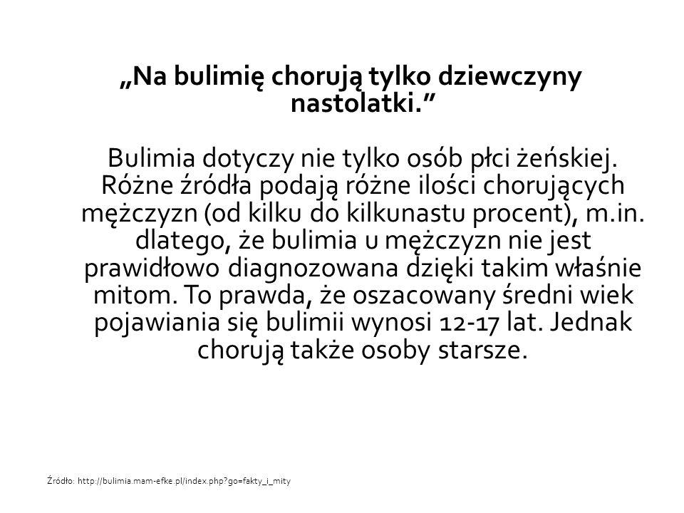 """""""Na bulimię chorują tylko dziewczyny nastolatki."""