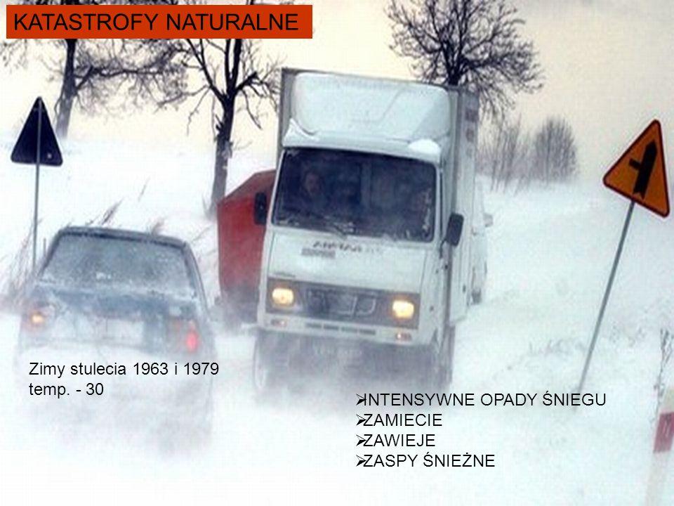 KATASTROFY NATURALNE Zimy stulecia 1963 i 1979 temp. - 30