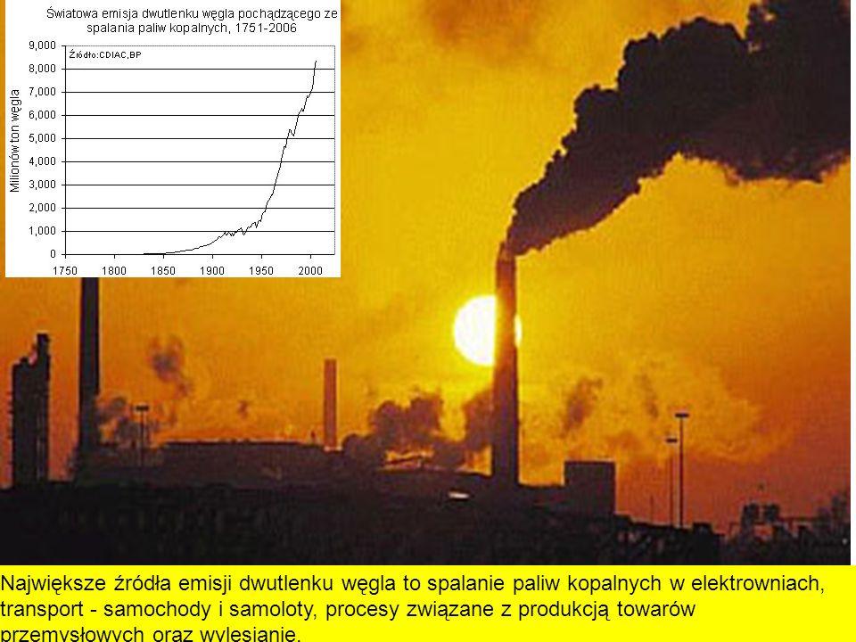 Największe źródła emisji dwutlenku węgla to spalanie paliw kopalnych w elektrowniach, transport - samochody i samoloty, procesy związane z produkcją towarów przemysłowych oraz wylesianie.