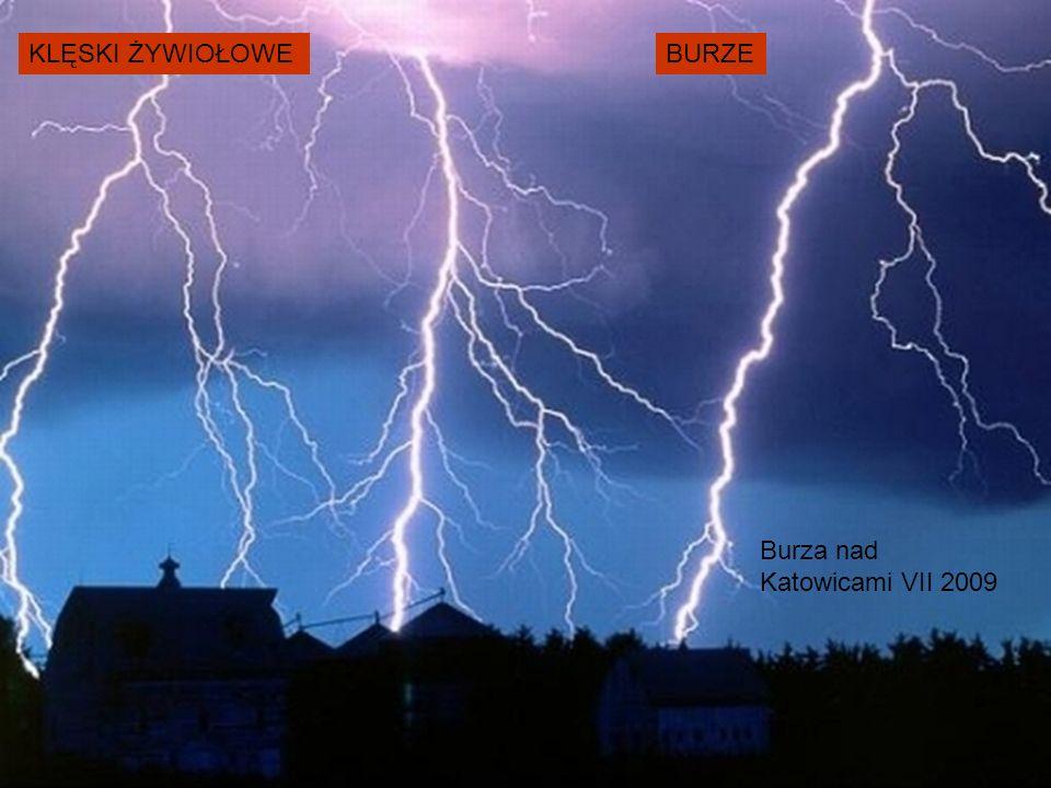 KLĘSKI ŻYWIOŁOWE BURZE Burza nad Katowicami VII 2009