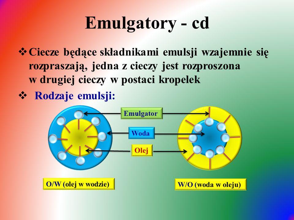 Emulgatory - cd Ciecze będące składnikami emulsji wzajemnie się rozpraszają, jedna z cieczy jest rozproszona w drugiej cieczy w postaci kropelek.