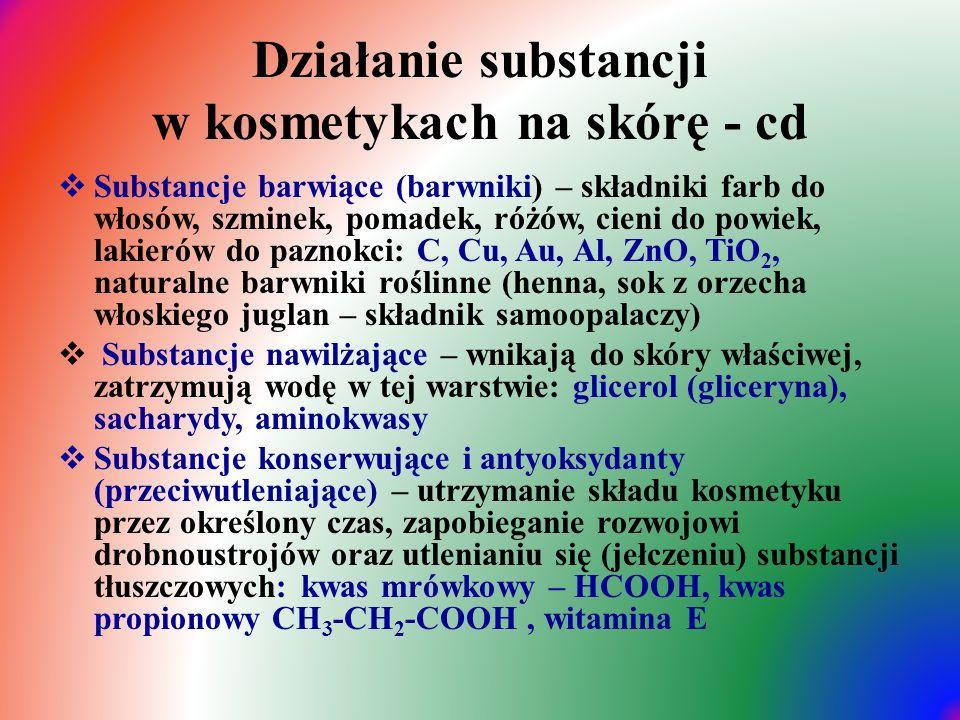 Działanie substancji w kosmetykach na skórę - cd