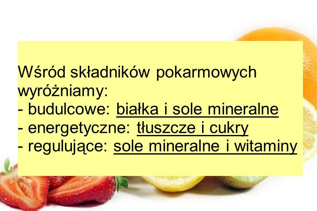 Wśród składników pokarmowych wyróżniamy: