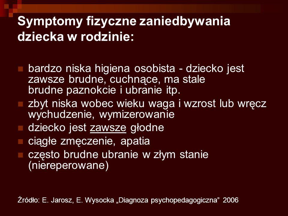 Symptomy fizyczne zaniedbywania dziecka w rodzinie: