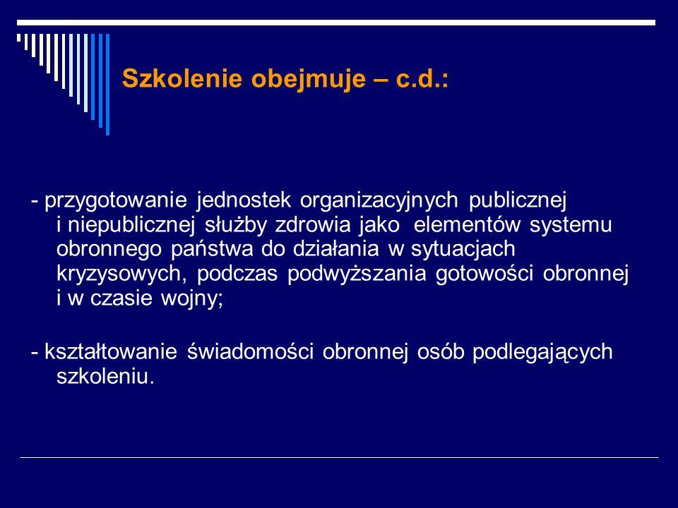 Szkolenie obejmuje – c.d.: