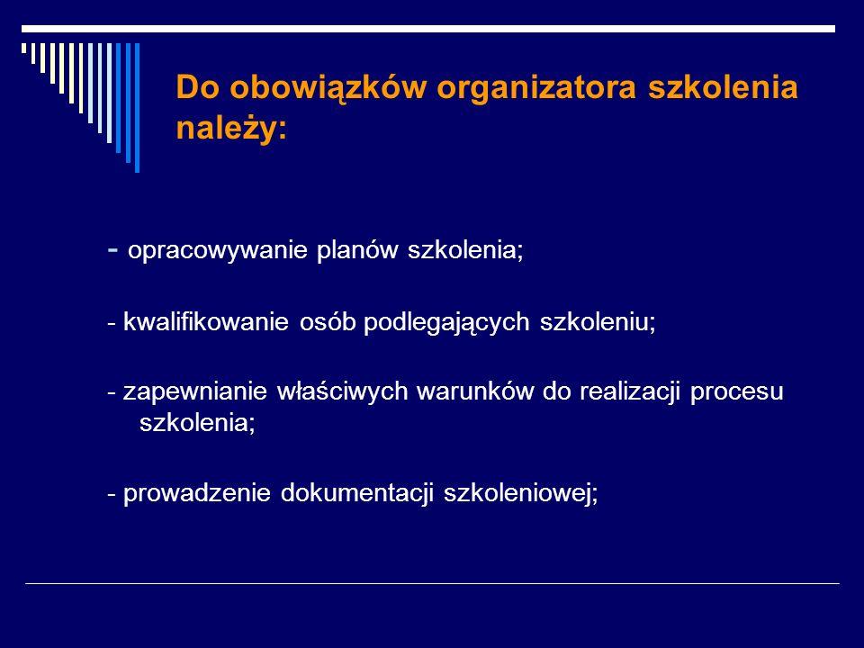 Do obowiązków organizatora szkolenia należy: