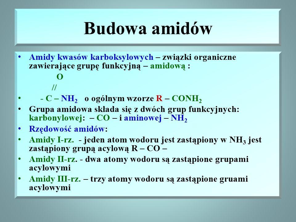 Budowa amidów Amidy kwasów karboksylowych – związki organiczne zawierające grupę funkcyjną – amidową :