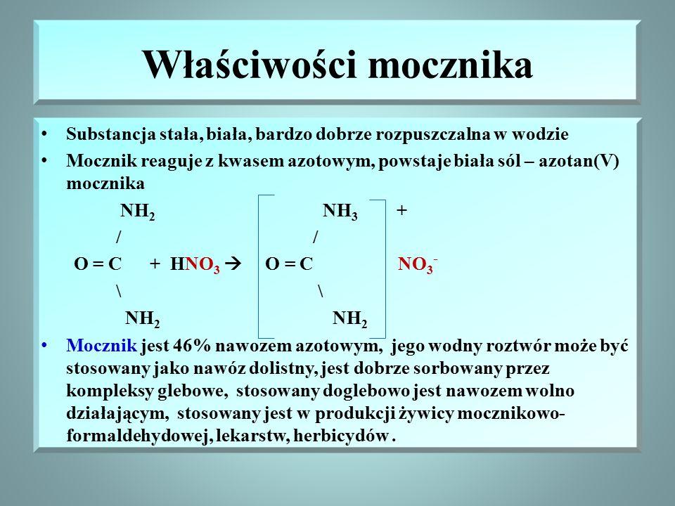 Właściwości mocznika Substancja stała, biała, bardzo dobrze rozpuszczalna w wodzie.