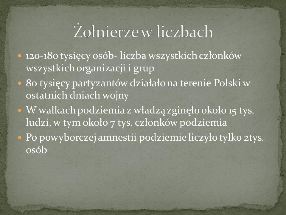 Żołnierze w liczbach 120-180 tysięcy osób- liczba wszystkich członków wszystkich organizacji i grup.