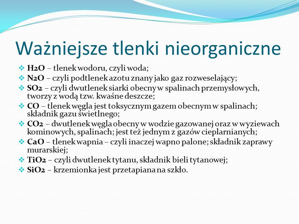 Ważniejsze tlenki nieorganiczne