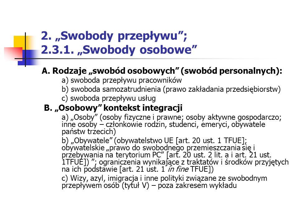 """2. """"Swobody przepływu ; 2.3.1. """"Swobody osobowe"""