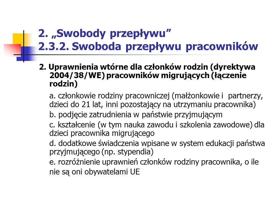 """2. """"Swobody przepływu 2.3.2. Swoboda przepływu pracowników"""