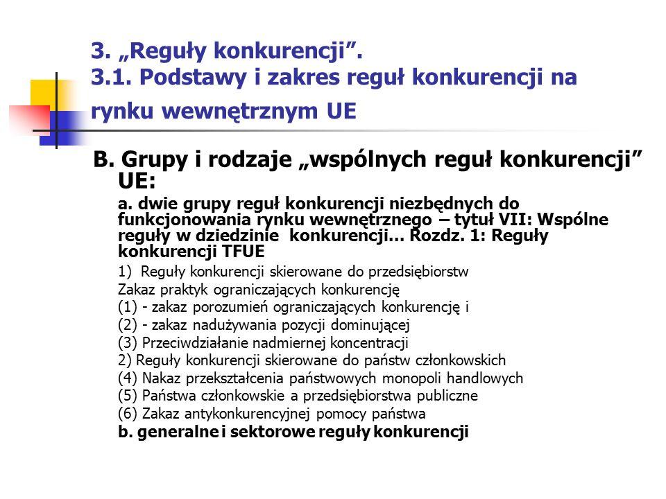 """B. Grupy i rodzaje """"wspólnych reguł konkurencji UE:"""