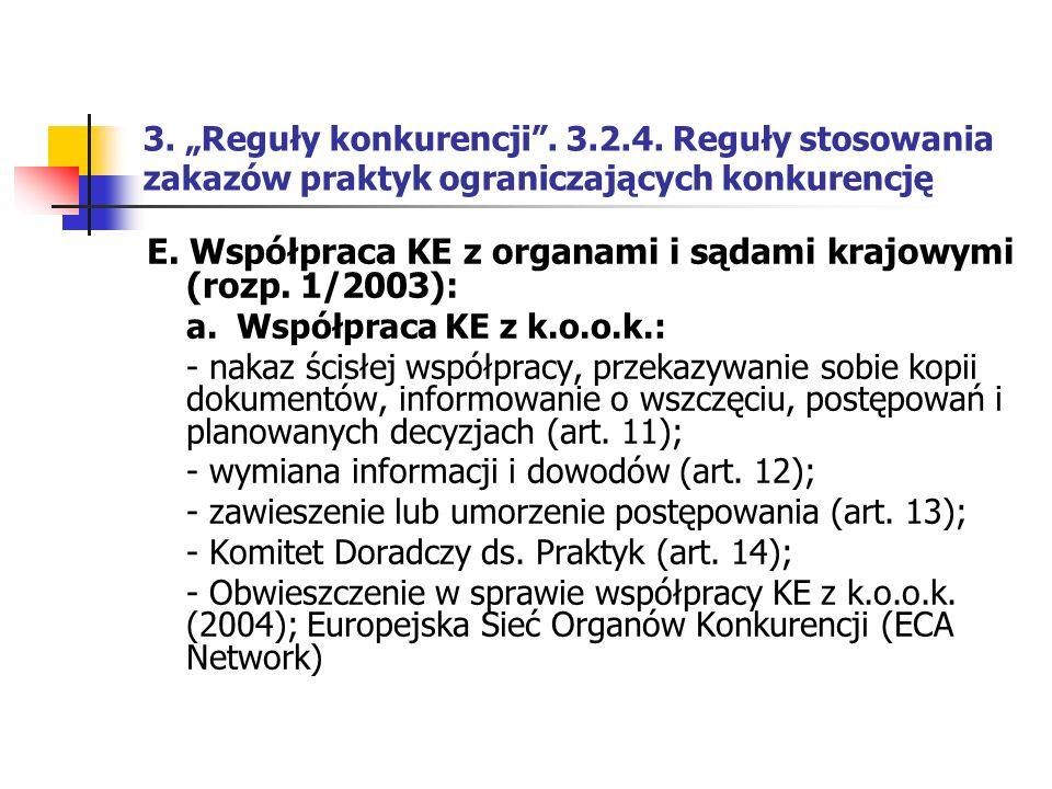 E. Współpraca KE z organami i sądami krajowymi (rozp. 1/2003):