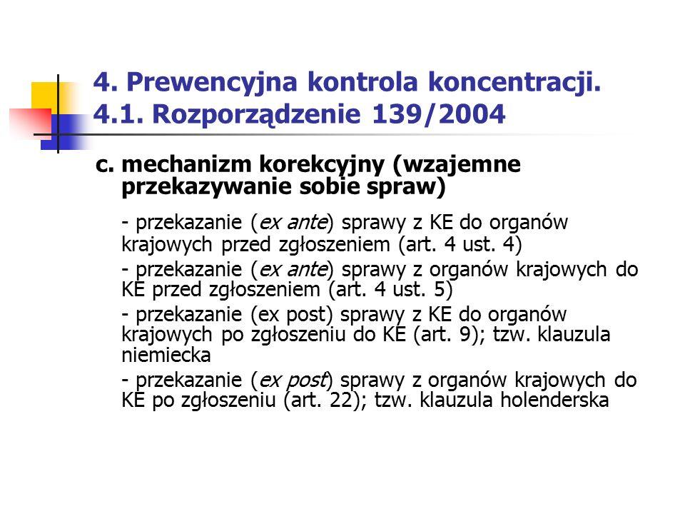 4. Prewencyjna kontrola koncentracji. 4.1. Rozporządzenie 139/2004