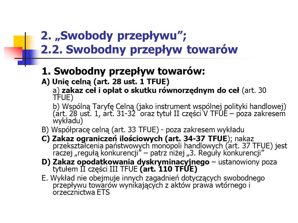 """2. """"Swobody przepływu ; 2.2. Swobodny przepływ towarów"""