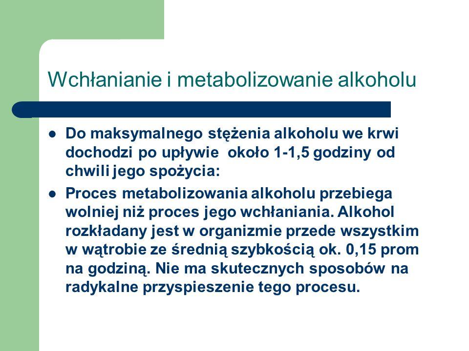 Wchłanianie i metabolizowanie alkoholu