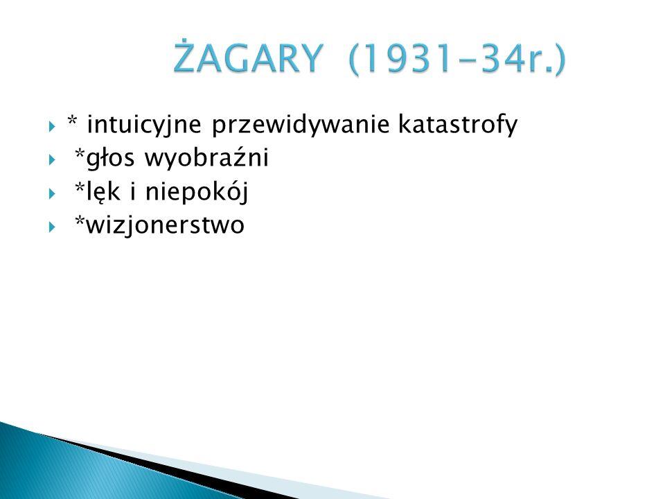 ŻAGARY (1931-34r.) * intuicyjne przewidywanie katastrofy