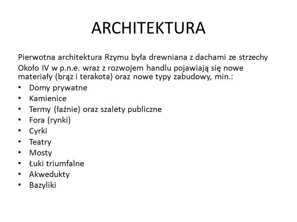 ARCHITEKTURA Pierwotna architektura Rzymu była drewniana z dachami ze strzechy.