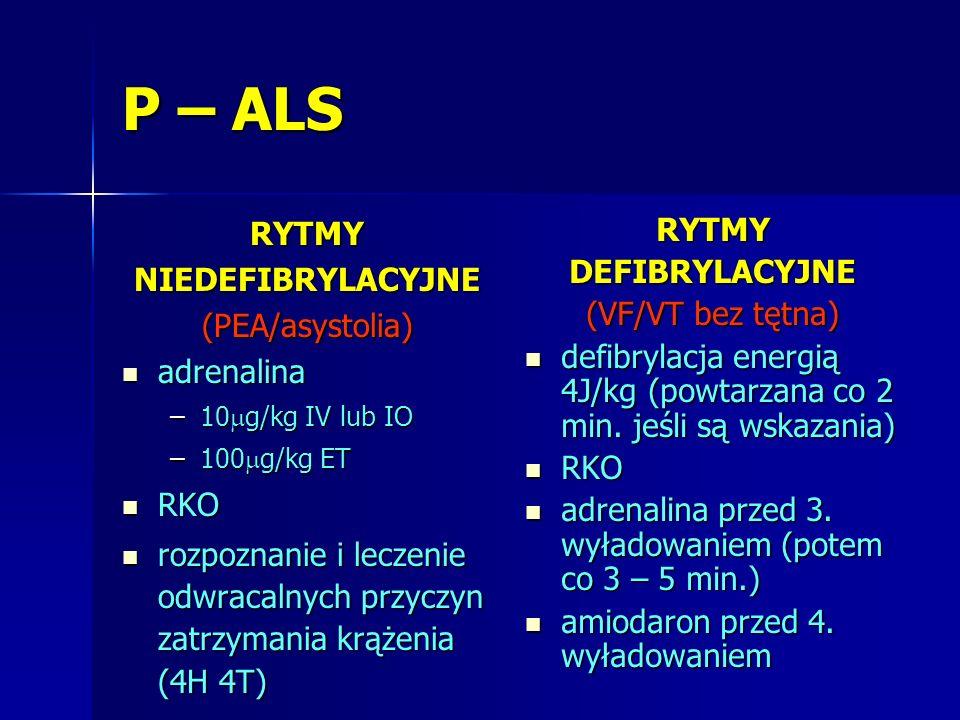P – ALS RYTMY NIEDEFIBRYLACYJNE (PEA/asystolia) adrenalina RKO