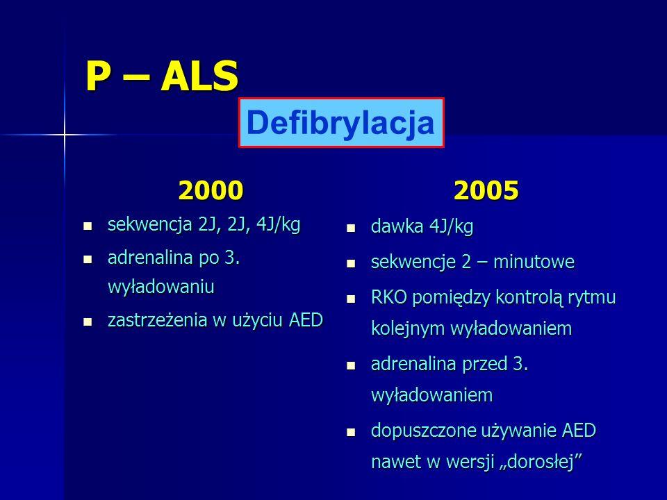 P – ALS Defibrylacja 2000 2005 sekwencja 2J, 2J, 4J/kg