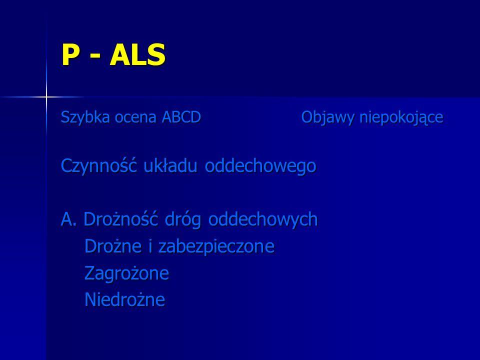 P - ALS Czynność układu oddechowego A. Drożność dróg oddechowych