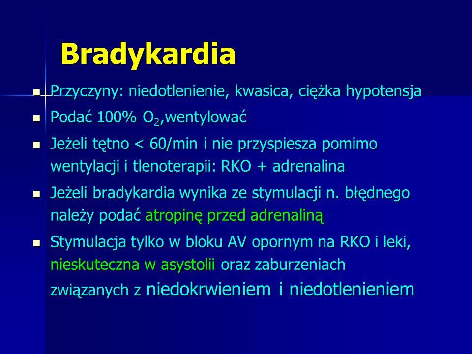 Bradykardia Przyczyny: niedotlenienie, kwasica, ciężka hypotensja