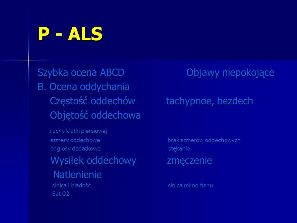 P - ALS Szybka ocena ABCD Objawy niepokojące B. Ocena oddychania