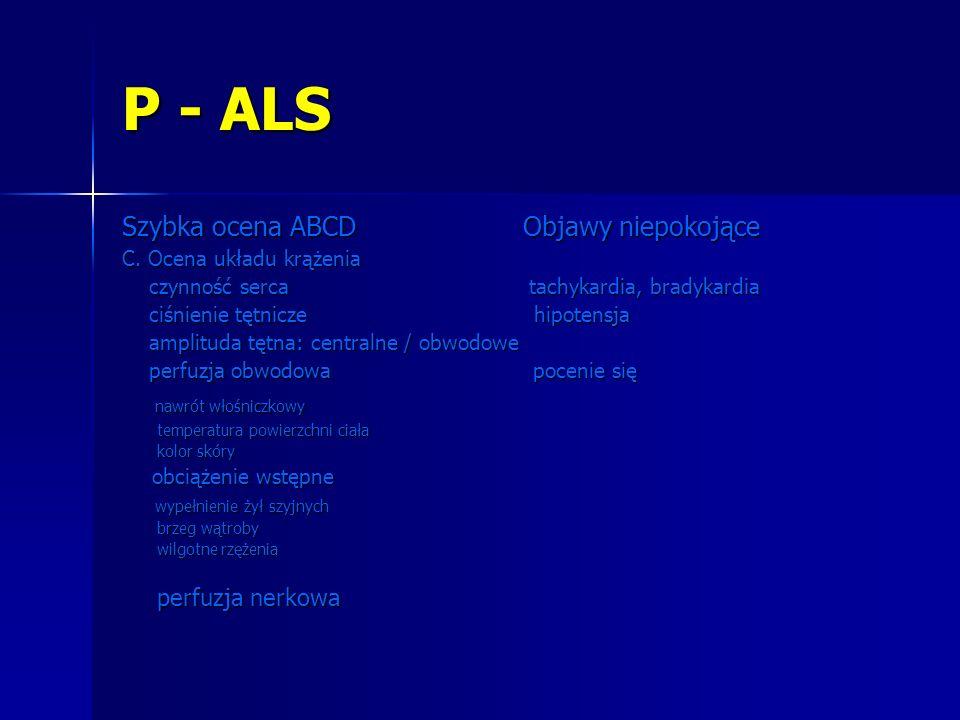 P - ALS Szybka ocena ABCD Objawy niepokojące nawrót włośniczkowy