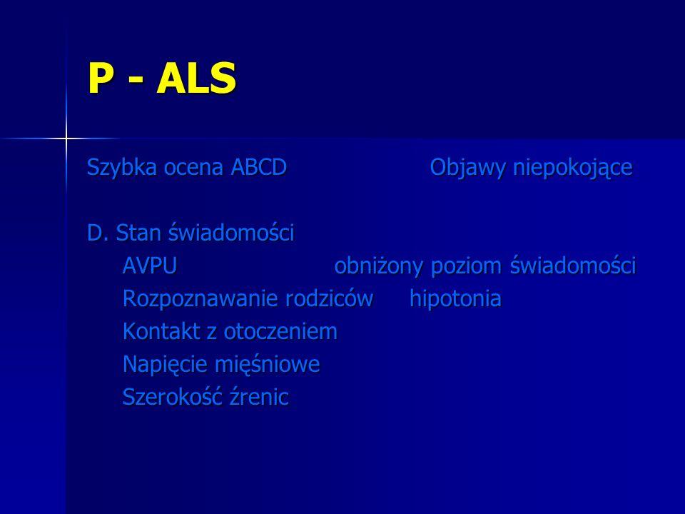 P - ALS Szybka ocena ABCD Objawy niepokojące D. Stan świadomości