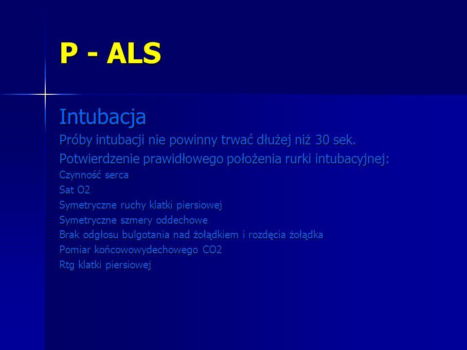 P - ALS Intubacja Próby intubacji nie powinny trwać dłużej niż 30 sek.
