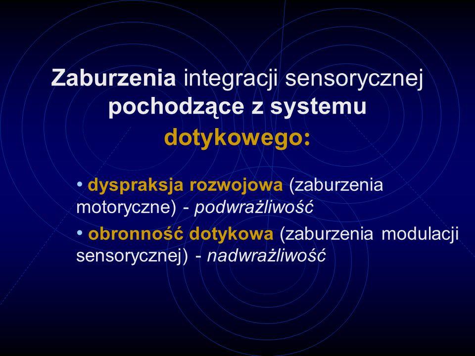 Zaburzenia integracji sensorycznej pochodzące z systemu dotykowego: