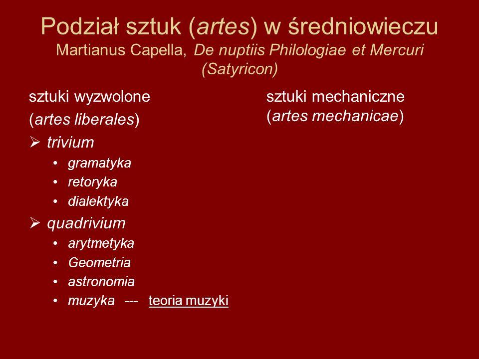 Podział sztuk (artes) w średniowieczu Martianus Capella, De nuptiis Philologiae et Mercuri (Satyricon)