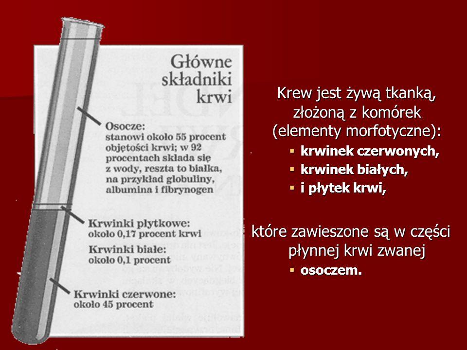 Krew jest żywą tkanką, złożoną z komórek (elementy morfotyczne):