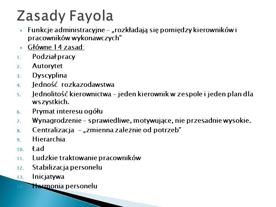 """Zasady Fayola Funkcje administracyjne – """"rozkładają się pomiędzy kierowników i pracowników wykonawczych"""