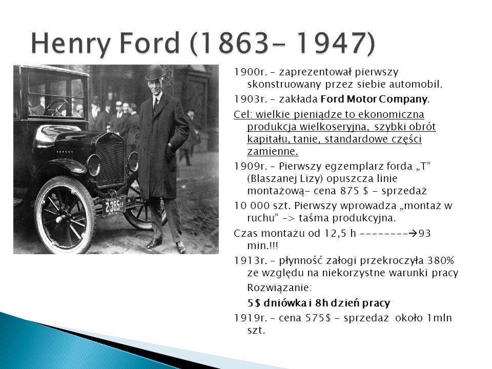 Henry Ford (1863- 1947) 1900r. – zaprezentował pierwszy skonstruowany przez siebie automobil. 1903r. – zakłada Ford Motor Company.