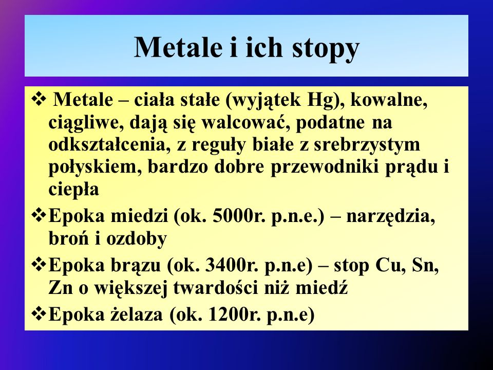 Metale i ich stopy