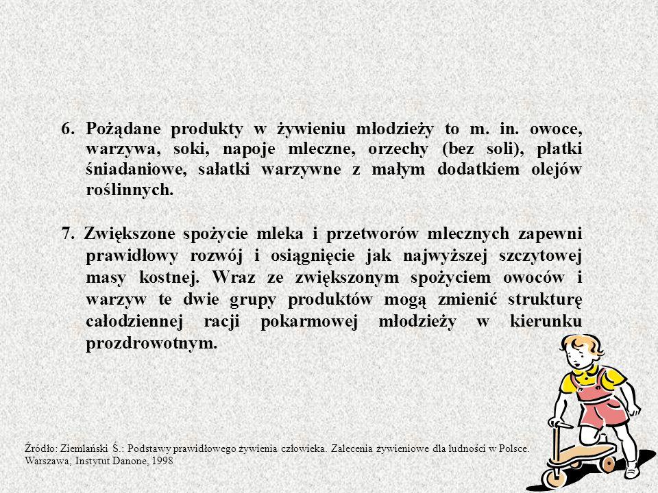 6. Pożądane produkty w żywieniu młodzieży to m. in