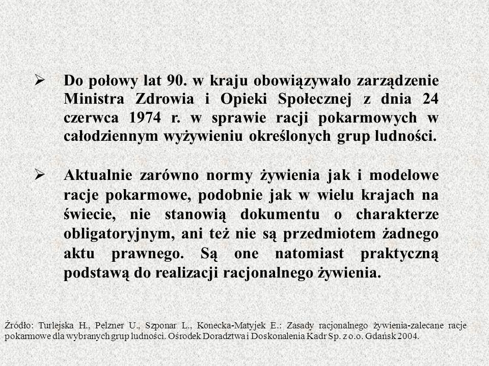 Do połowy lat 90. w kraju obowiązywało zarządzenie Ministra Zdrowia i Opieki Społecznej z dnia 24 czerwca 1974 r. w sprawie racji pokarmowych w całodziennym wyżywieniu określonych grup ludności.