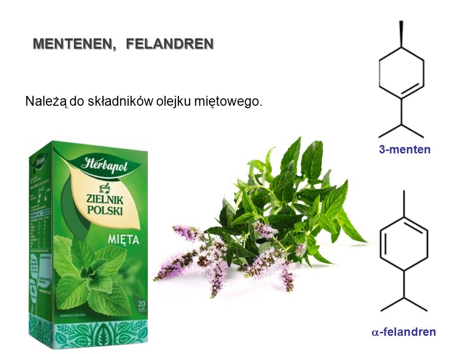 MENTENEN, FELANDREN Należą do składników olejku miętowego. 3-menten