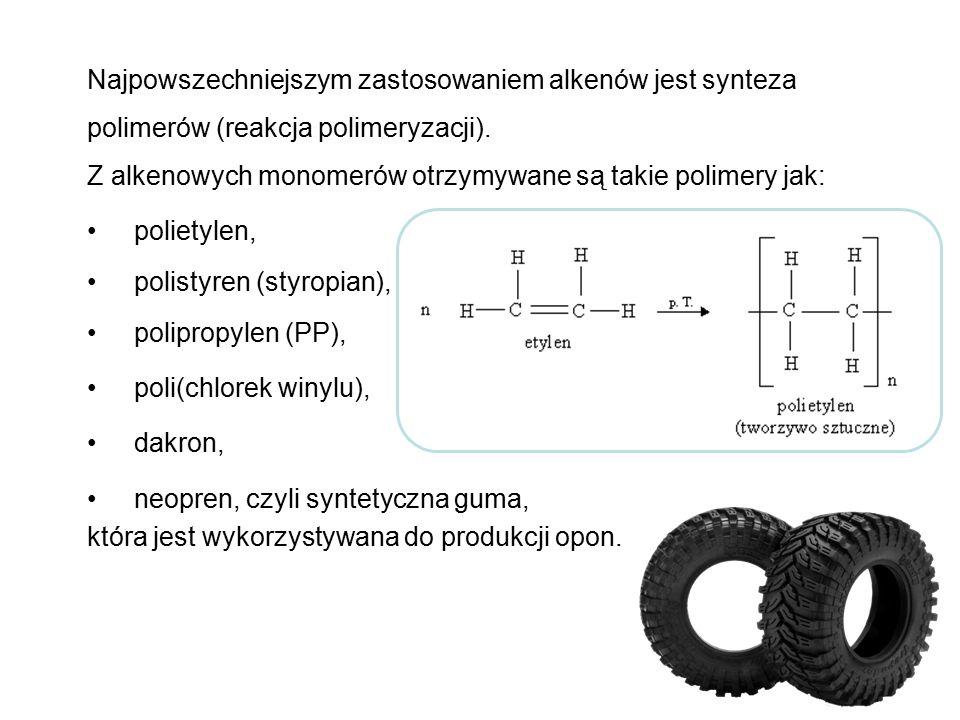Najpowszechniejszym zastosowaniem alkenów jest synteza polimerów (reakcja polimeryzacji). Z alkenowych monomerów otrzymywane są takie polimery jak:
