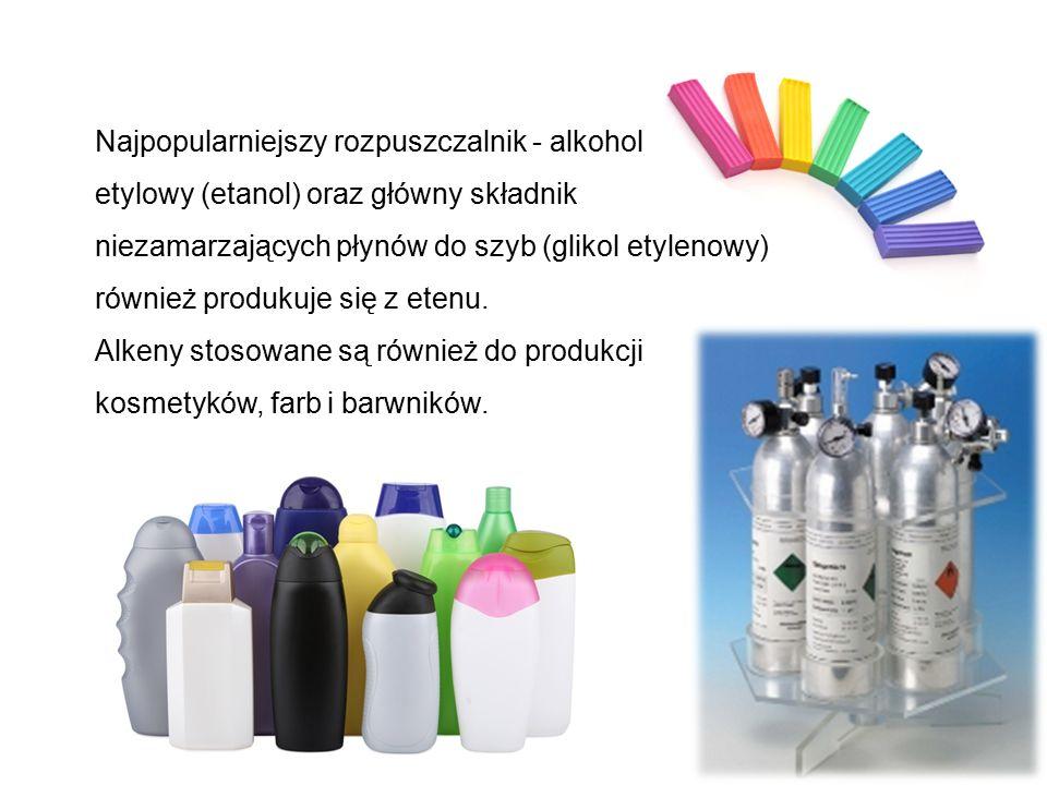 Najpopularniejszy rozpuszczalnik - alkohol etylowy (etanol) oraz główny składnik niezamarzających płynów do szyb (glikol etylenowy) również produkuje się z etenu.