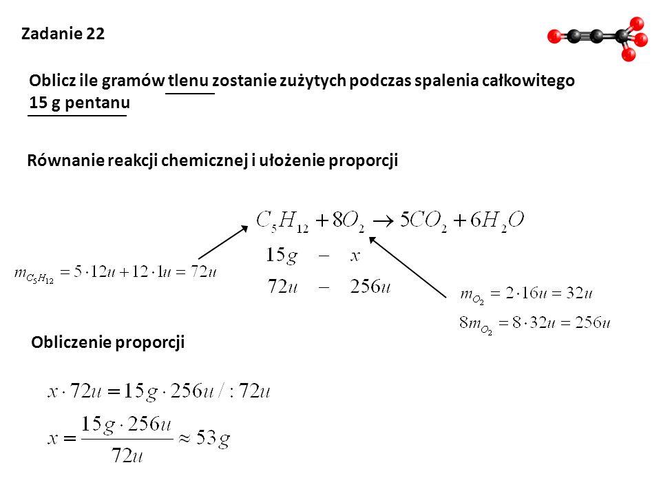 Równanie reakcji chemicznej i ułożenie proporcji
