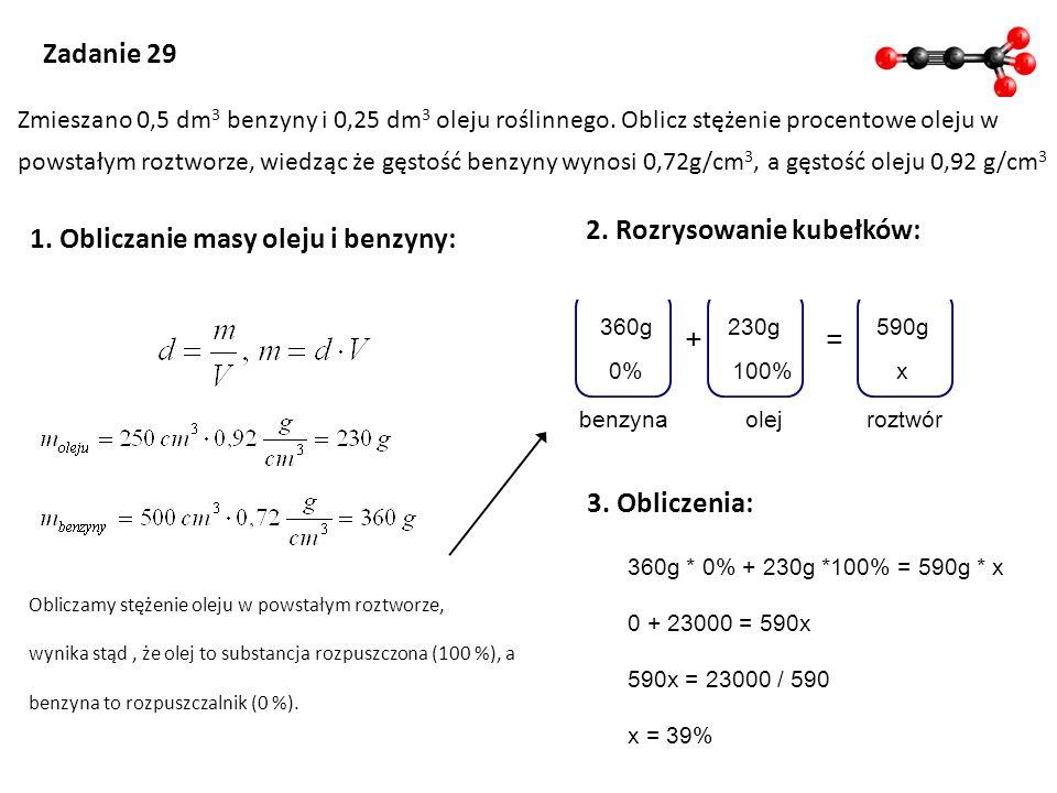1. Obliczanie masy oleju i benzyny: 2. Rozrysowanie kubełków:
