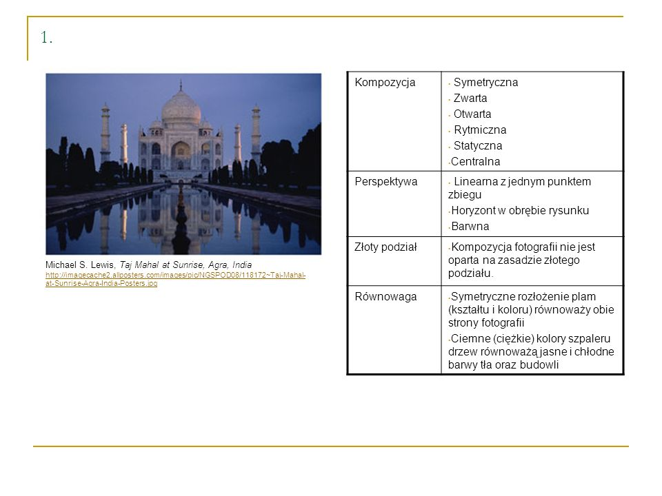 1. Kompozycja Symetryczna Zwarta Otwarta Rytmiczna Statyczna Centralna