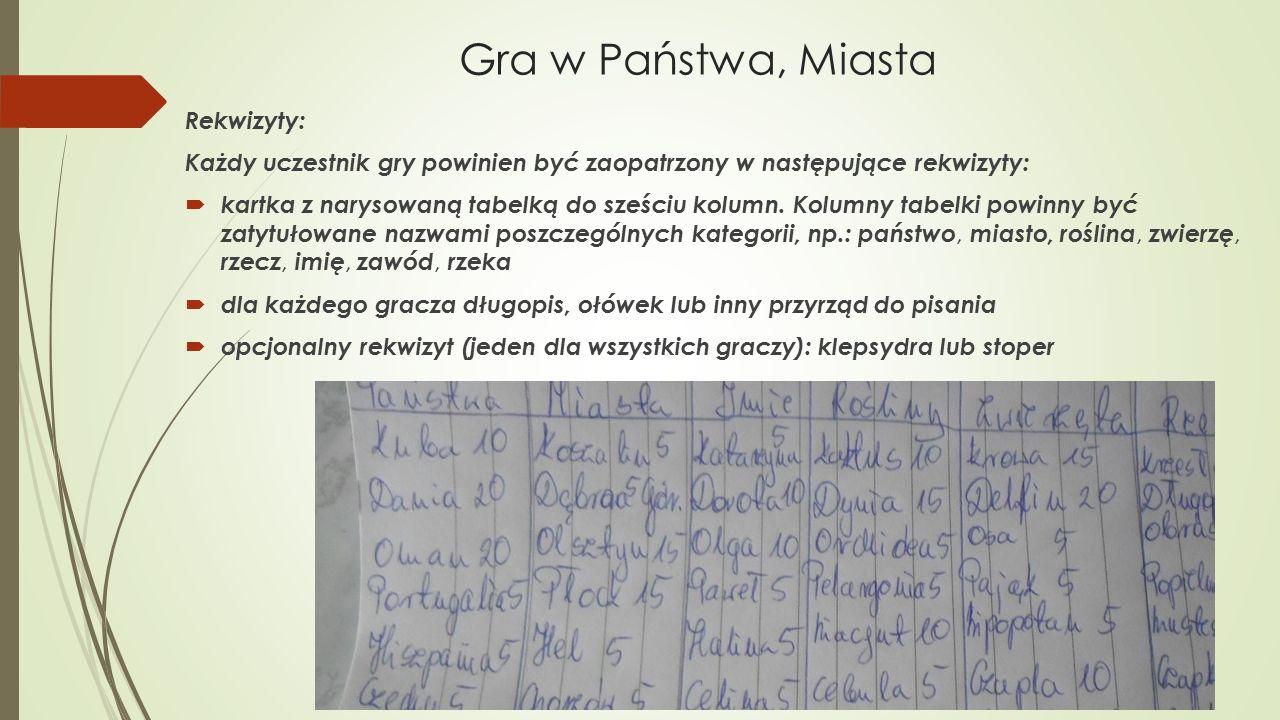 Gra w Państwa, Miasta Rekwizyty: