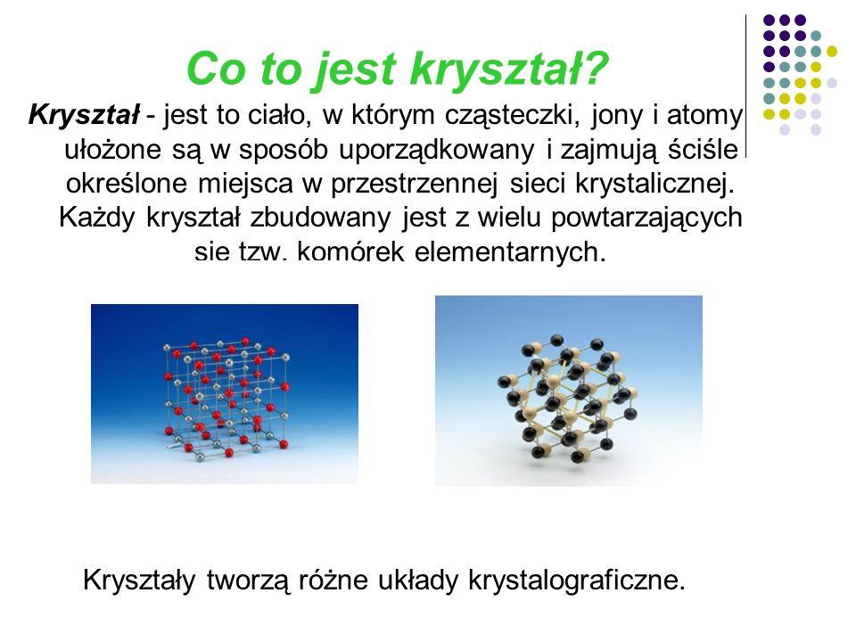 Kryształy tworzą różne układy krystalograficzne.