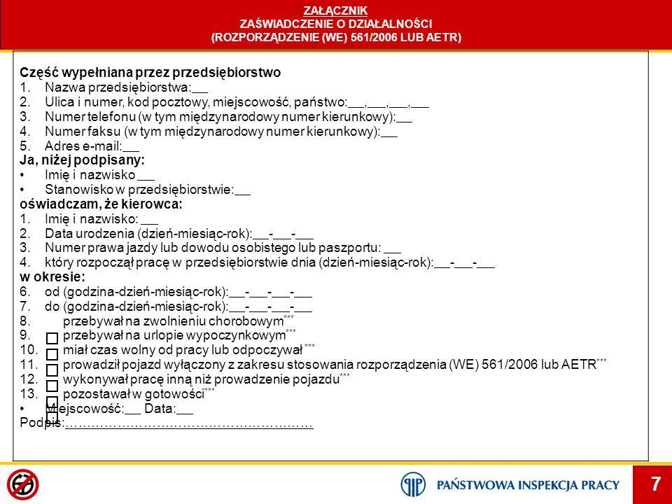 ZAŚWIADCZENIE O DZIAŁALNOŚCI (ROZPORZĄDZENIE (WE) 561/2006 LUB AETR)