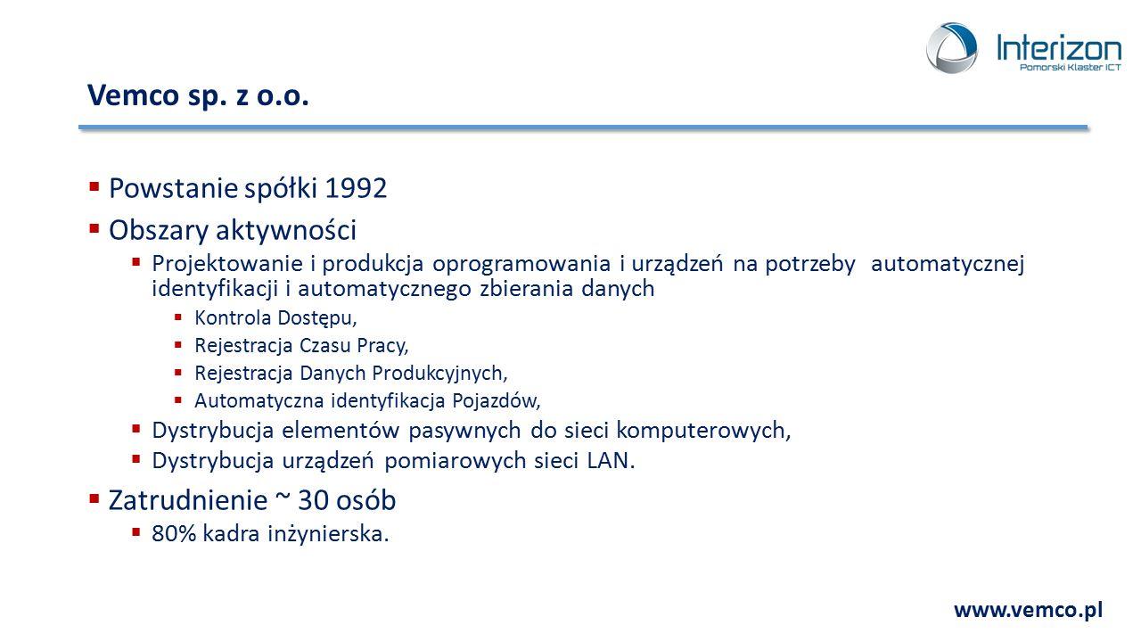 Vemco sp. z o.o. Powstanie spółki 1992 Obszary aktywności